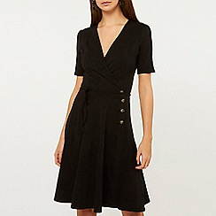 Dorothy Perkins - Black Horn Button Wrap Dress