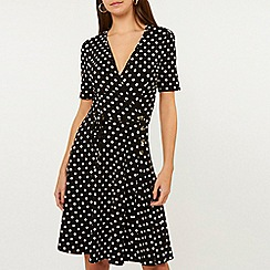 Dorothy Perkins - Black Spot Print Horn Button Dress