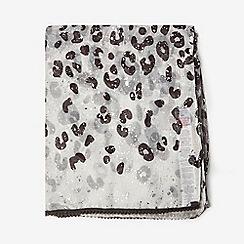 Dorothy Perkins - Grey Leopard Print Foil Scarf
