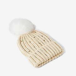 Dorothy Perkins - Cream pearl embellished pom pom hat