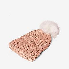 Dorothy Perkins - Pink pearl embellished pom pom beanie hat