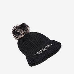 Dorothy Perkins - Black embellished pom pom hat