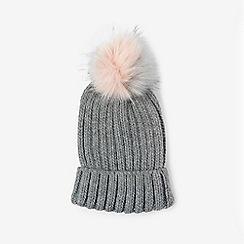 Dorothy Perkins - Grey and pink pom pom hat