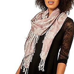 Dorothy Perkins - Pink floral lurex jacquard print scarf