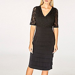 Dorothy Perkins - Black lace shutter shift dress