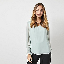 Dorothy Perkins - Billie and Blossom Petite Green Cuffed Chiffon Blouse