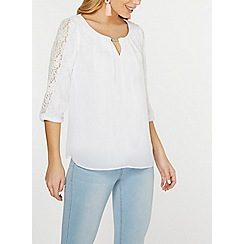 Dorothy Perkins - Billie & blossom ivory lace trim blouse