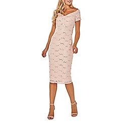 Dorothy Perkins - Blush bardot lace midi dress