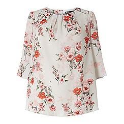 Dorothy Perkins - Billie & blossom curve white shadow floral print top