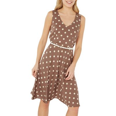 Dorothy Perkins   Billie &Amp; Blossom Taupe Spot Print Hard Belt Skater Dress by Dorothy Perkins
