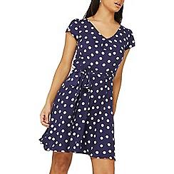 Dorothy Perkins - Billie & blossom navy spot viscose dress