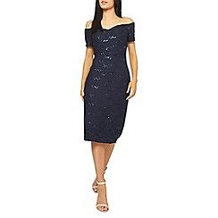 Dorothy Perkins - Scarlett b navy bardot lace midi dress