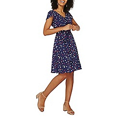 Dorothy Perkins - Billie & blossom navy heart print soft belt dress