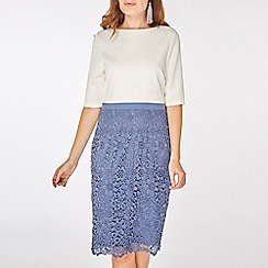 Dorothy Perkins - Showcase blue and ivory okley lace shift dress