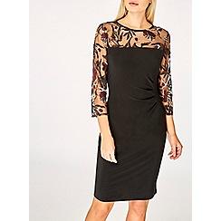 Dorothy Perkins - Billie & blossom black embroider mesh bodycon dress