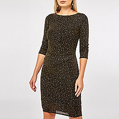 Dorothy Perkins - Black and gold 3/4 sleeve bodycon dress