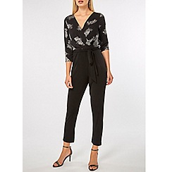 Dorothy Perkins - Billie & blossom black feather wrap jumpsuit