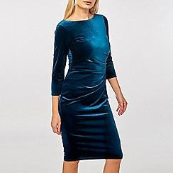 Dorothy Perkins - Billie & blossom teal 3/4 sleeve velour bodycon dress