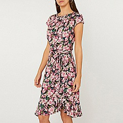 Dorothy Perkins - Tall pink floral print frill skater dress