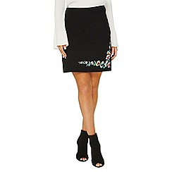 Dorothy Perkins - Black embroidered mini a-line skirt