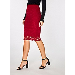 Dorothy Perkins - Red lace pencil skirt