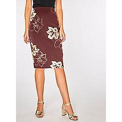 Dorothy Perkins - Wine foil floral pencil skirt