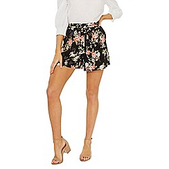 Dorothy Perkins - Black floral tie waist shorts