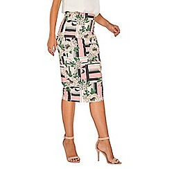 Dorothy Perkins - Ivory cut about floral pencil skirt