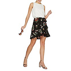 Dorothy Perkins - Black floral tie mini skirt