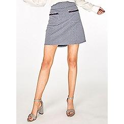 Dorothy Perkins - Blue geometric print pocket trim mini skirt