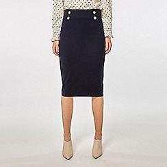 Dorothy Perkins - Navy button detail pencil skirt