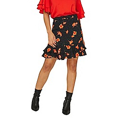 Dorothy Perkins - Black spotted and floral print mini skirt