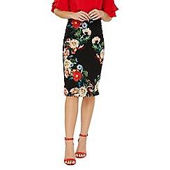 Dorothy Perkins - Black floral print pencil skirt