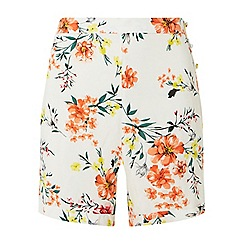 Dorothy Perkins - Ivory floral side button shorts