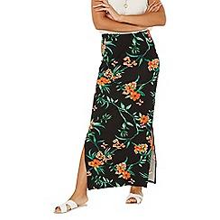 Dorothy Perkins - Black floral tropical print maxi skirt