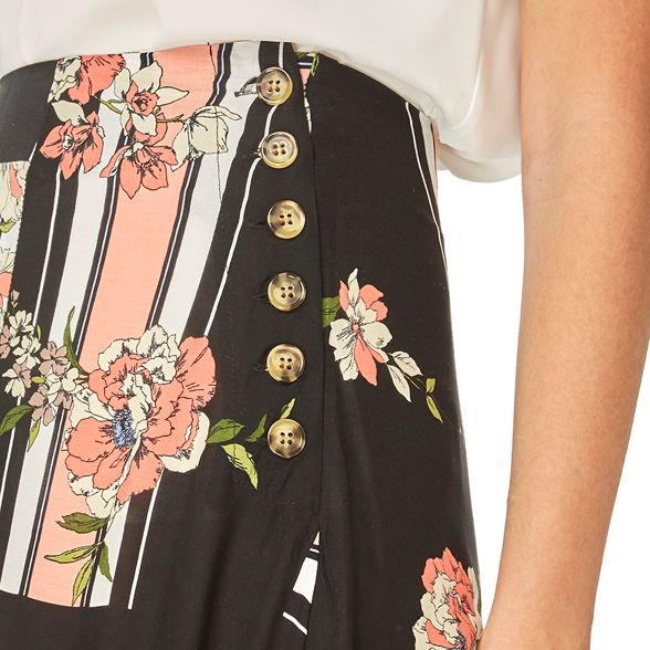 colour print Multi asymmetric floral Perkins skirt skater Dorothy hem pIwqTn