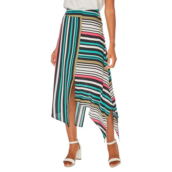 colour Dorothy striped Perkins midi asymmetric Multi skirt w1zHq1U