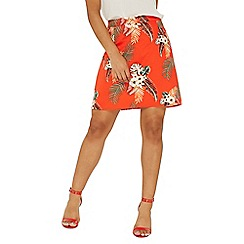 Dorothy Perkins - Red tropical pique mini skirt