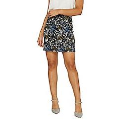 Dorothy Perkins - Black and blue jacquard mini skirt