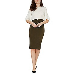 Dorothy Perkins - Khaki ring front pencil skirt