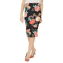 Dorothy Perkins - Black floral scuba pencil skirt