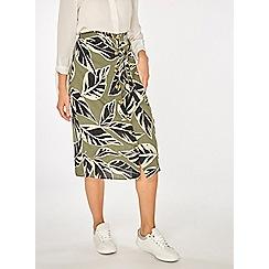 Dorothy Perkins - Leaf print button midi skirt