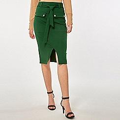 Dorothy Perkins - Green Pocket Belt Pencil Skirt