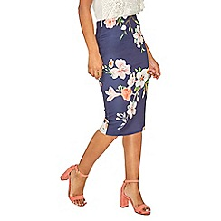 Dorothy Perkins - Blue floral pencil skirt
