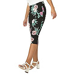Dorothy Perkins - Black and pink floral pencil skirt