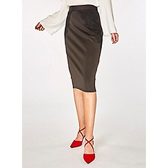 Dorothy Perkins - Black lace scuba pencil skirt
