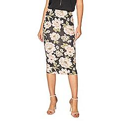 Dorothy Perkins - Black rose floral pencil skirt