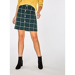 Dorothy Perkins - Teal green check button mini skirt