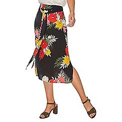 Dorothy Perkins - Black tropical midi skirt
