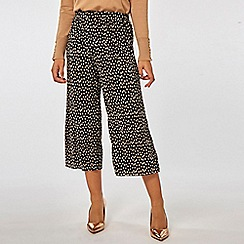 Dorothy Perkins - Black spot print plisse cropped trousers